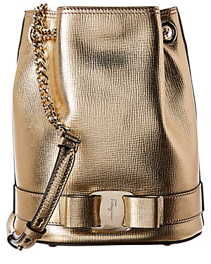 Salvatore Ferragamo Vara Bow Metallic Leather Bucket Bag 1d9ee92b4cc1e