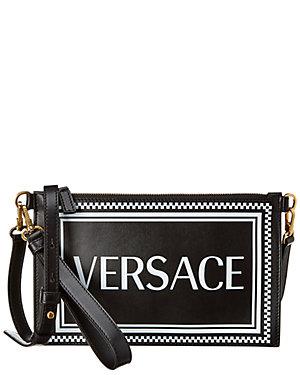 f53606c5418 Versace 90 S Logo Wristlet Leather Clutch