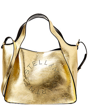 0ac193ffb229 Stella Mccartney Logo Perforated Metallic Tote
