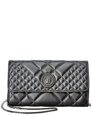 ede2ffe0bcc Versace Medusa Quilted Leather Wallet On Chain