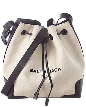 474d01392 Balenciaga Logo Print Canvas & Leather Bucket Bag