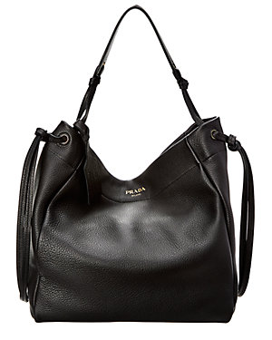 cf5288dd3cdb Prada Tie-Side Leather Hobo Bag