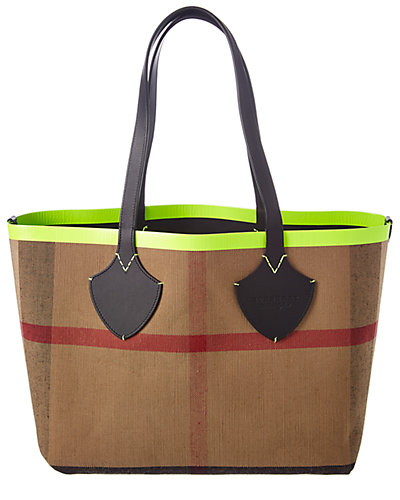 Burberry Medium Giant Reversible Canvas Check & Leather Tote by Burberry