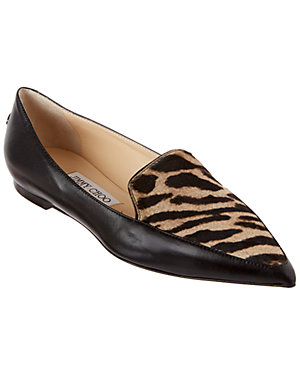 Jimmy Choo Guild Leather Pointy-Toe Flat
