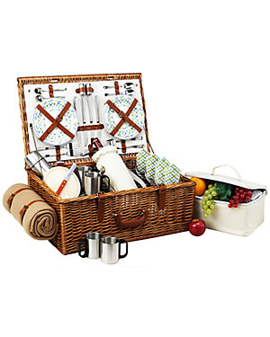 Deluxe Dorset Picnic Basket for 4 with Coffee & Blanket Set