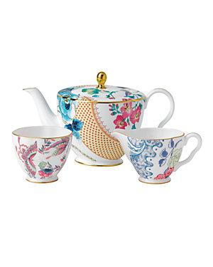 Wedgwood Butterfly Bloom 3pc Teapot, Sugar, Creamer Set