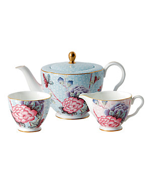 Wedgwood Cuckoo Tea Story 3pc Teapot, Sugar, Creamer Set