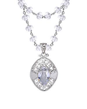 Janice Girardi Silver Quartz & CZ Necklace