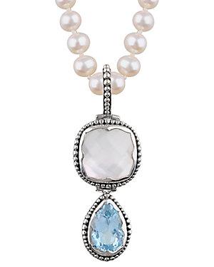 Janice Girardi Silver 16.57 ct. tw. Gemstone & 6-6.5mm Pearl Necklace