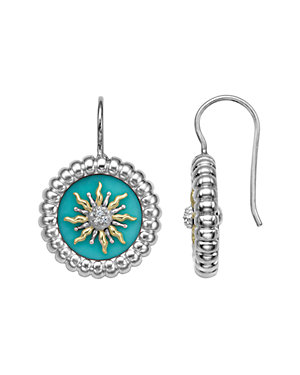 SLANE Solis 18K & Silver 0.42 ct. tw. Diamond & Turquoise Drop Earrings