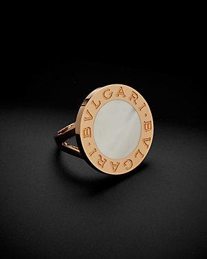 Bulgari 18K Rose Gold 15mm Mother-of-Pearl Ring