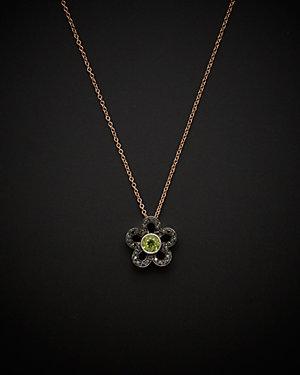 Salavetti 18K Rose Gold 0.81 ct. tw. Diamond & Peridot Necklace
