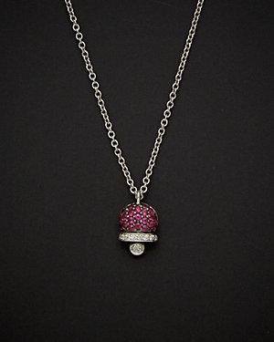 Salavetti 18K 0.31 ct. tw. Diamond & Ruby Necklace