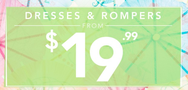 Disappearing Steals: Dresses & Rompers from $19.99