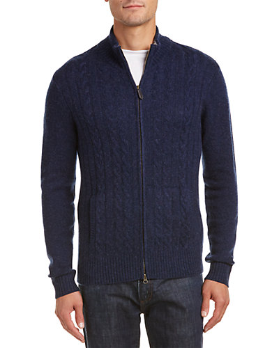 Lockhart Cashmere Merino Wool & Cashmere-Blend Mock Neck Cardigan