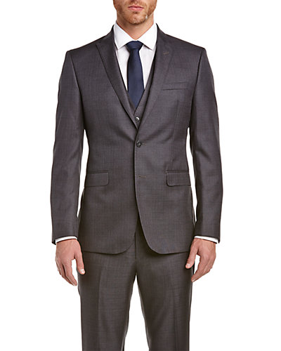 Calvin Klein Slim Fit 3pc Vested Suit with Flat Front Pant