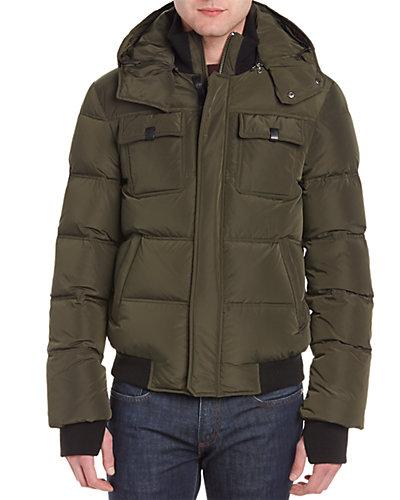 Mackage Gary Wool-Blend & Leather-Trim Down Jacket