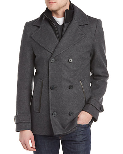 Soia & Kyo Braydon Wool-Blend & Leather Peacoat