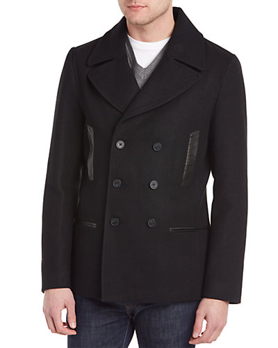 Soia & Kyo Hector Wool-Blend & Leather Peacoat