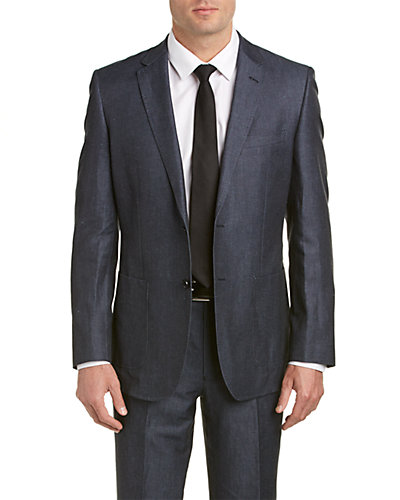 English Laundry Linen-Blend Suit with Flat Front Pant