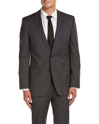 DKNY Slim Fit Wool Suit with Flat Front Pant