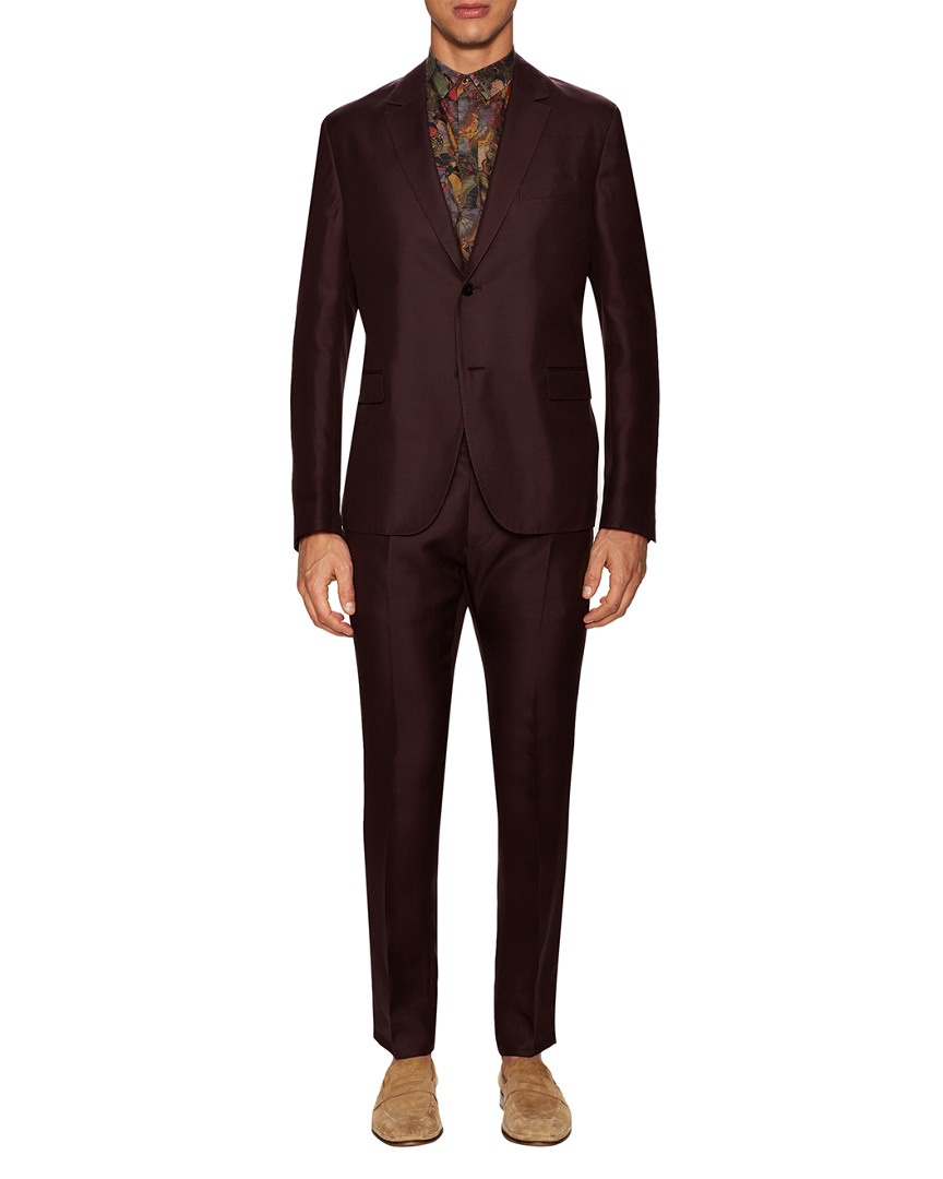 Valentino Silk Solid Notch Lapel Suit 10118079830001