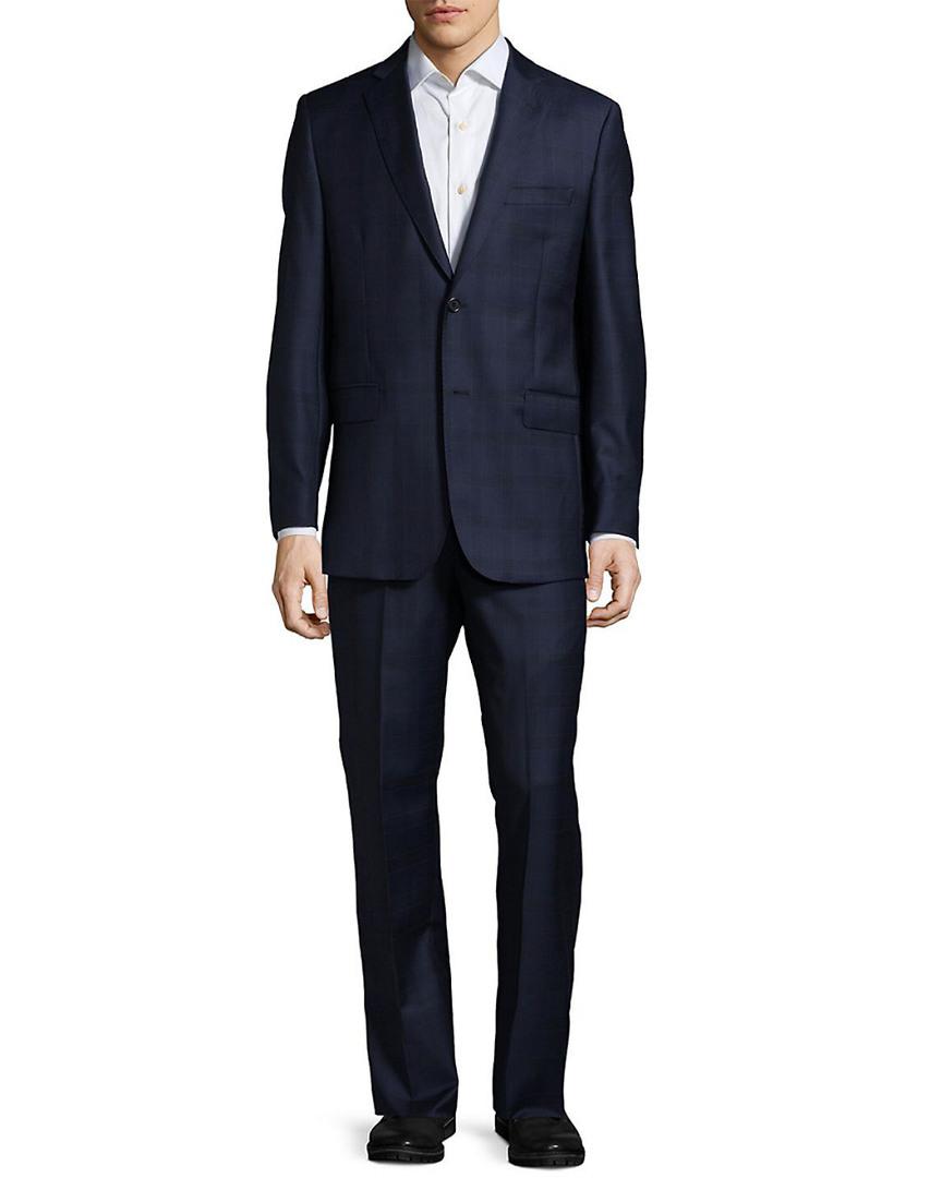 Saks Fifth Avenue Mens Plaid Wool Suit, 40 S 400955279894   eBay