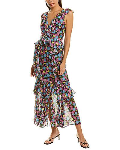 Rue La La — AMUR Ruffle Silk Midi Dress