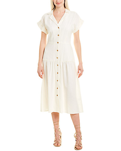 Rue La La — London Times Linen-Blend Shirtdress