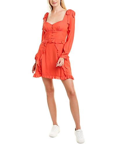 Rue La La — Nicole Miller Tie-Shoulder Silk-Blend Mini Dress