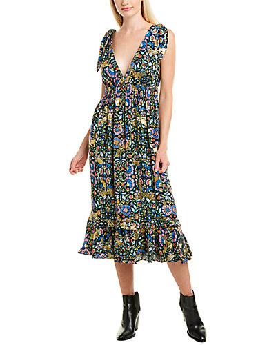 Rue La La — Nicole Miller Mosaic Smocked Silk-Blend Midi Dress