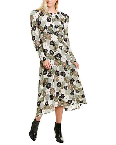 Rue La La — Nicole Miller Delilah Keyhole Silk-Blend Midi Dress