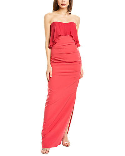 Rue La La — Nicole Miller Silk-Trim Gown