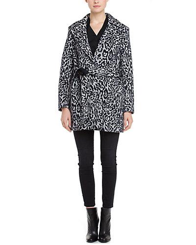Laveer Spy Snow Leopard Print Belted Coat