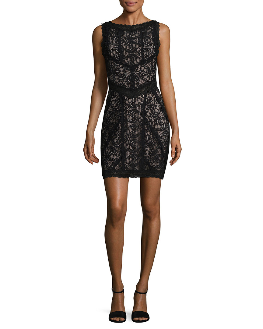 Nicole Miller LACE COMBO SHEATH DRESS