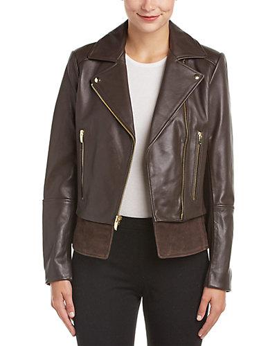 Via Spiga Leather Moto Jacket