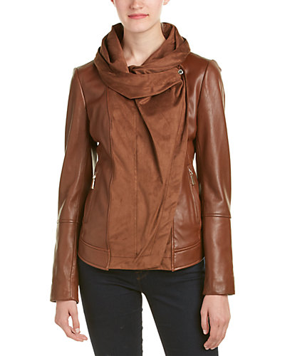 Vince Camuto Leather Wrap Jacket