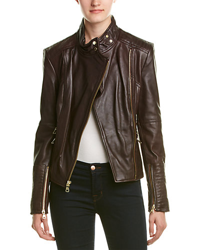 Vince Camuto High Collar Leather Jacket