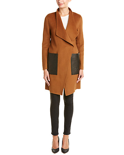 Soia & Kyo Taina Leather-Trim Wool-Blend Coat
