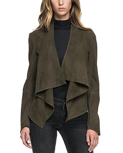 LaMarque Suede Cowl Neck Asymmetric Jacket