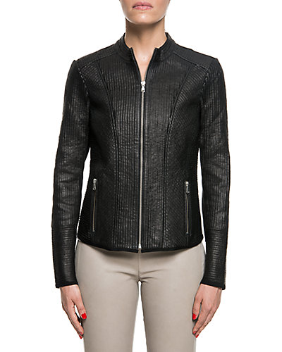 LaMarque Leather Mesh Striped Jacket