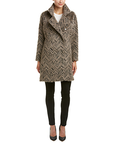 Trina Turk Madison Chevron Alpaca-Blend Asymmetrical Coat