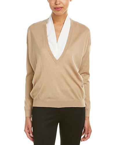 Brunello Cucinelli Cashmere & Silk-Blend Deep V-Neck Sweater