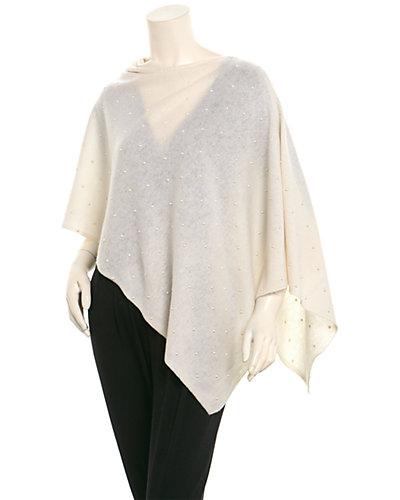 InCashmere Women's White Cashmere Poncho