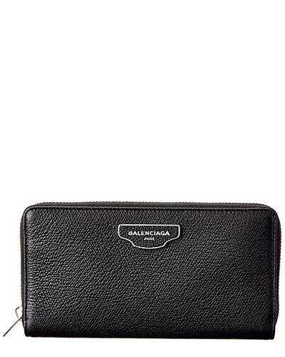 Balenciaga Papier Plate Leather Zip Around Wallet