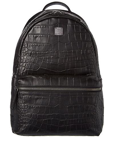 MCM Stark Lexus Medium Embossed Leather Backpack
