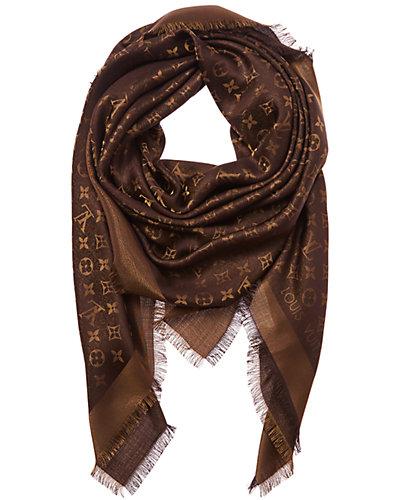 Louis Vuitton Brown Monogram Silk & Wool Blend Shine Shawl