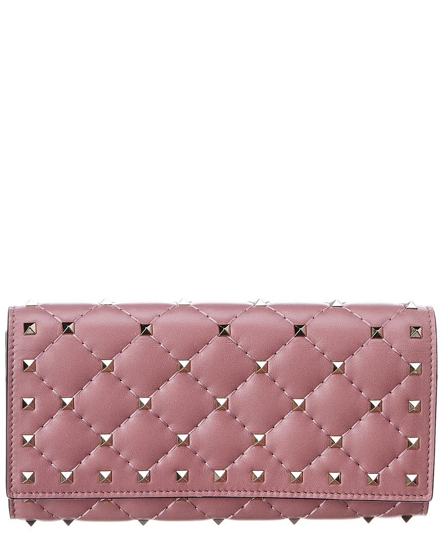 ced318877814 Valentino Womens Rockstud Spike Leather Continental Wallet, Pink | eBay