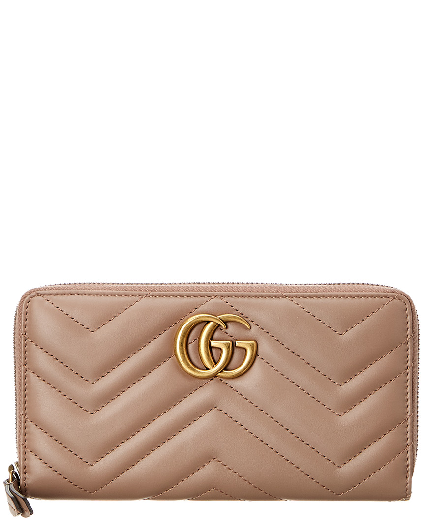 3b0e992fca90 Details about Gucci Womens Gg Marmont Zip Around Leather Wallet