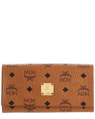 MCM Visetos Large Canvas & Leather Continental Wallet
